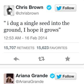 Tweets posted by Chris and Ariana which seem to be lyrics from their upcoming song.