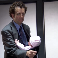 Detective Streudler brings his infant daughter to work