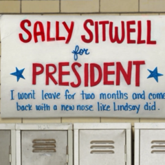 Sally won by hanging a banner that read