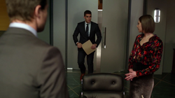 Adrian offers his resignation to Oliver in order to take full responsibility for the cover up
