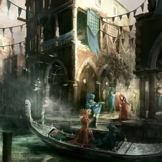Concept art for Carnevale, with gondolas included