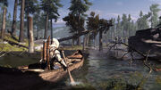 Assassins-Creed-3-Connor using a Native American Canoe