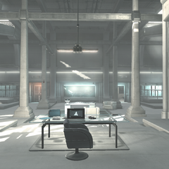 View of Vidic's desk, the Animus and the conference room
