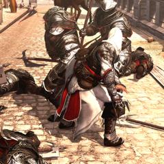 埃齐奥正在与一名波吉亚家族的勇猛卫兵战斗