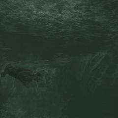 Ezio diving into a pond beneath the fortress in <a href=