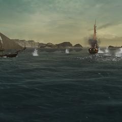炮艇攻击一艘商船