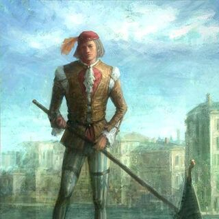 Early concept painting of a gondola boatman