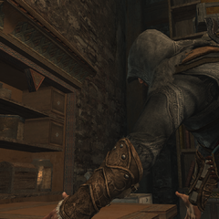 Ezio at a bomb crafting station