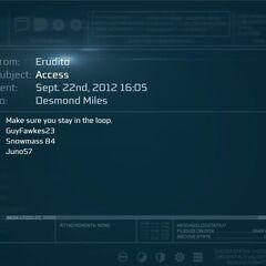 Erudito发送给戴斯蒙德的邮件。
