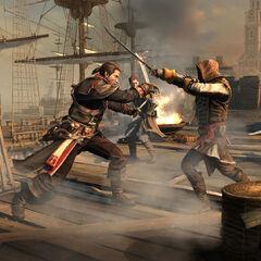 圣殿骑士谢伊与刺客船长交手