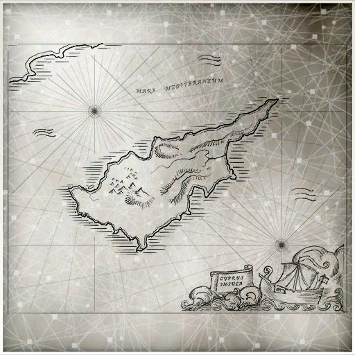 地中海岛屿 塞浦路斯 的草图。