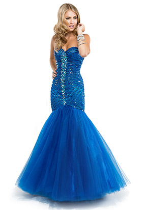 Image - Shimmering blue fit and flare prom dress.png | Austin ...