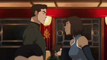 File:Korra snapping at Mako.png