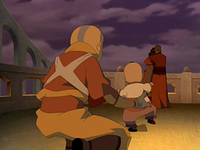 Aang returns Tom-Tom