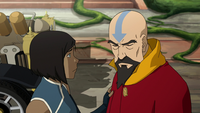 Korra and a worried Tenzin