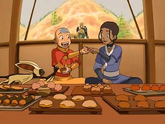 File:Aang and Katara eat.png