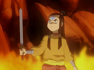 Aang holding a sword