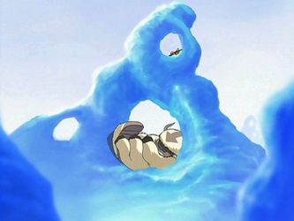 Aang and Appa resting on ice