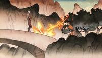 Wan firebending at the aye-aye spirit