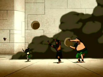 File:Toph, The Boulder, and Hippo at the invasion.png