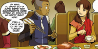 Sokka asks Yee-Li to try the turtleduck