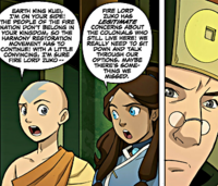 Aang and Katara talking to Kuei