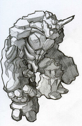 Rock Golem Rook Earth Black by KazuKun