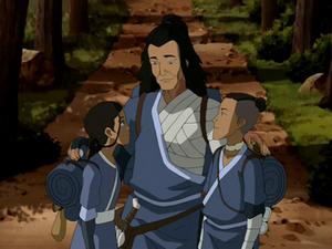 Katara, Sokka, and Bato hug