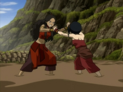 Katara and Toph wrestle