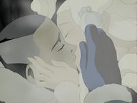 Sokka kisses Yue's spirit