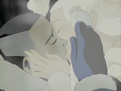 Sokka kisses Yue's spirit