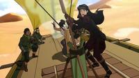Asami piloting a sand-sailer