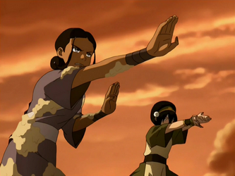 File:Toph and Katara bend.png