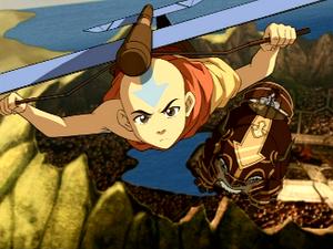 Aang and Katara flying