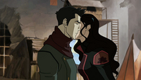 Asami kissing Mako on the cheek