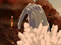Aang and Katara helping Jet