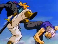 Trunks Fighting Kogu in Bojack Unbound