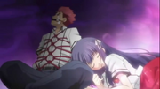 The King Game in Fumizuki Academy - Yuuji tied up, Shouko clinging