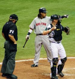 Manny asking Umpire