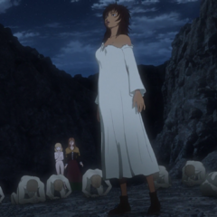 Casca standing in awe while being worshiped as a witch.