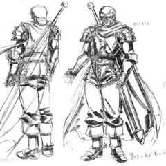 Front and back view sketches of a fully armored Guts, now a member of the Band of the Hawk, for the 1997 anime.