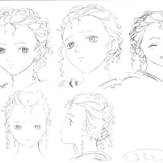 Profile drawings of Charlotte form various angles showing several expressions for the <a href=