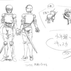 Full body sketches of a young Casca clad in armor, with drawings of her hands' armor, for the 1997 anime.