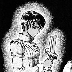 Casca sadly holds Guts' broken sword after he leaves the Band of the Hawk.