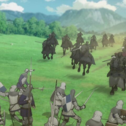 The Black Sheep Iron Spear Knights launch a mounted attack.