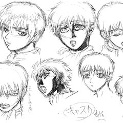 Profile drawings, shaded with charcoal, of Casca showing various expressions for the 1997 anime.