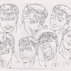 Profile drawings of Black Swordsman Guts showing various expressions for the 1997 anime.