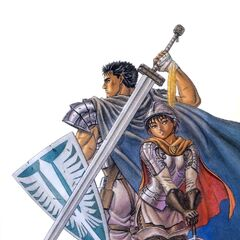 Guts holds a Band of the Hawk shield behind Casca.