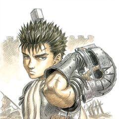 A young Guts holds his helmet behind him.