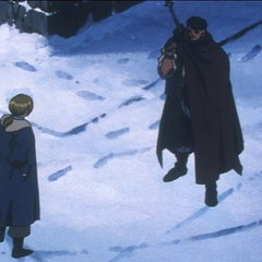 Judeau confronts Guts as he plans to leave the Band of the Hawk.
